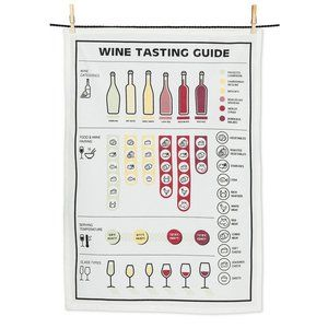 NWT Wine Tasting Guide Tea Towel
